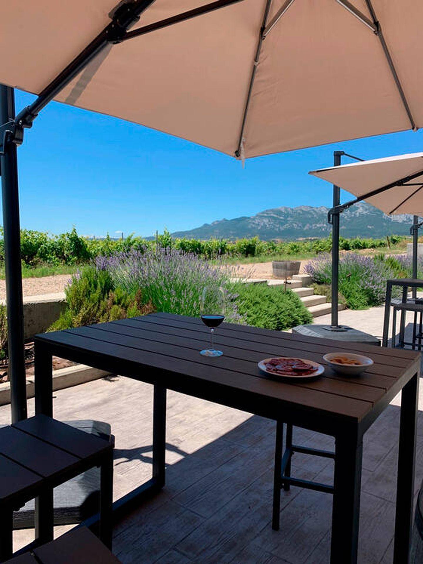 Espectacular terraza sobre los viñedos de Solar de Samaniego