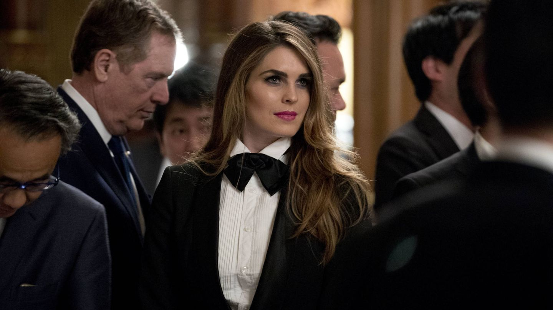 Hope Hicks durante la cena de gala en honor al matrimonio Trump en Tokio. (Gtres)