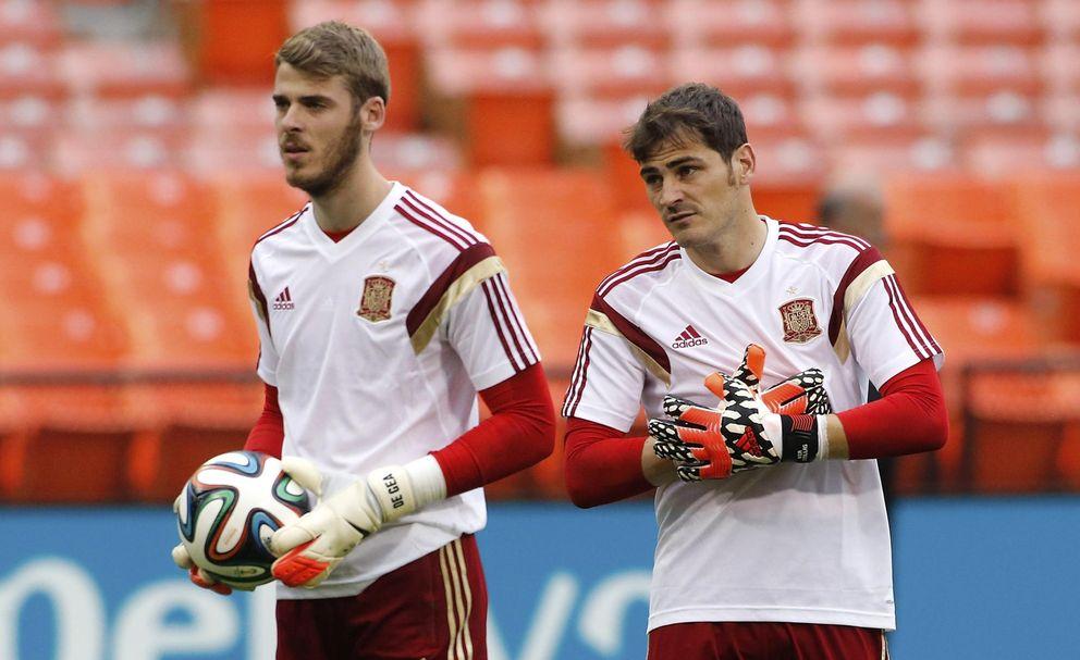 Foto: Casillas y De Gea, durante un entrenamiento de la Selección española (Reuters)