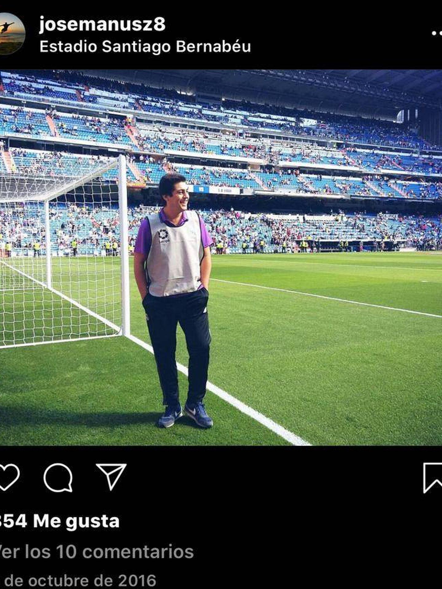 José Ramón Sandoval, de recogelotas en el Bernabéu, en su cuenta de Instagram