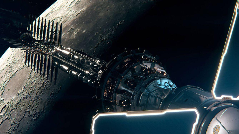 Foto: Render de la nave con motor nuclear de Rolls Royce en órbita lunar