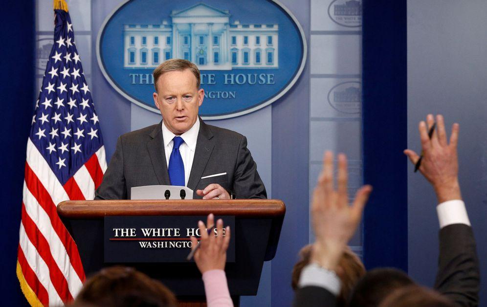 Foto: Sean Spicer durante la rueda de prensa de ayer en la Casa Blanca (Reuters)
