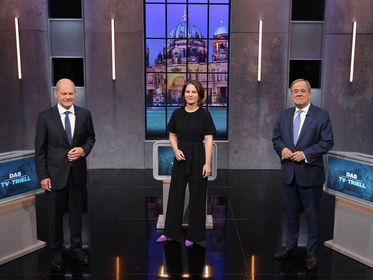 Foto: Los candidatos del SPD,  Olaf Scholz, del Partido Verde, Annalena Baerbock, y del CDU, Armin Laschet, durante el último debate televisado. (Getty)