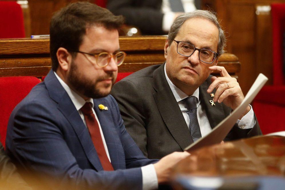 Foto: Pere Aragonès y Quim Torra en el pleno del Parlament del pasado 13 de noviembre. (EFE)