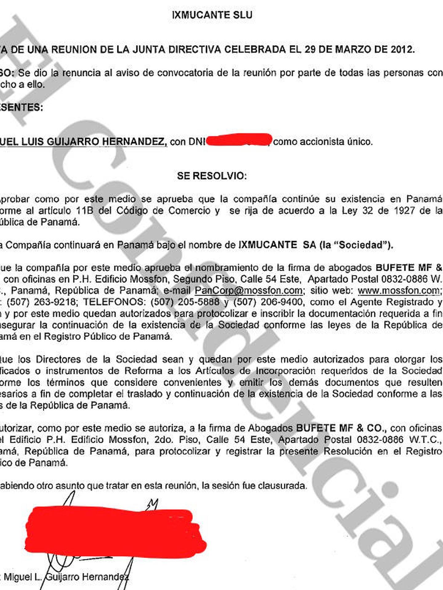 Guijarro fue el accionista único de la panameña Ixmucante.