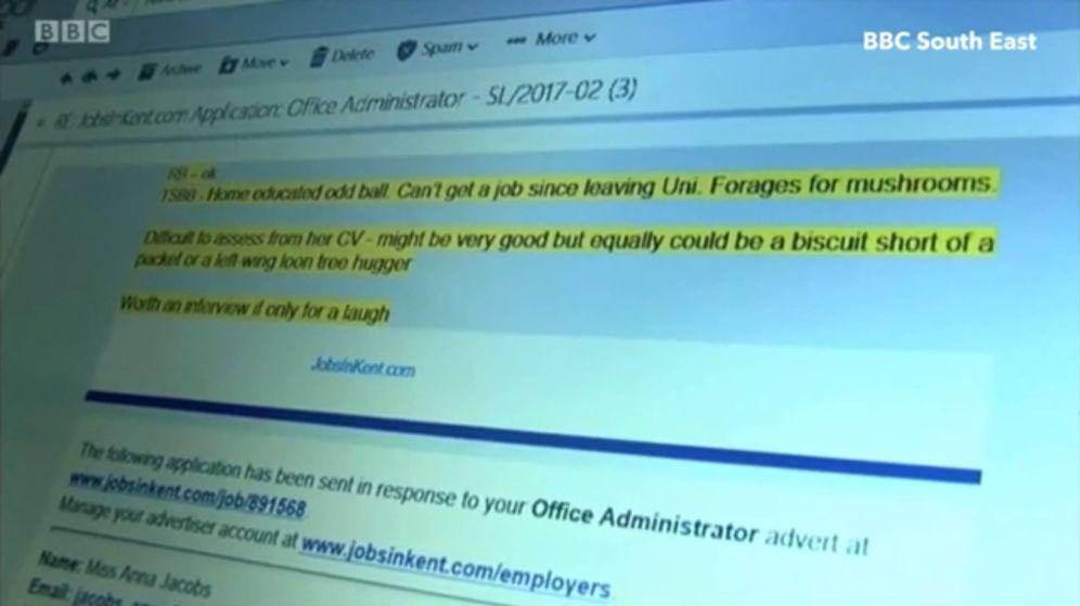 Foto: El correo electrónico en cuestión. (BBC South West)