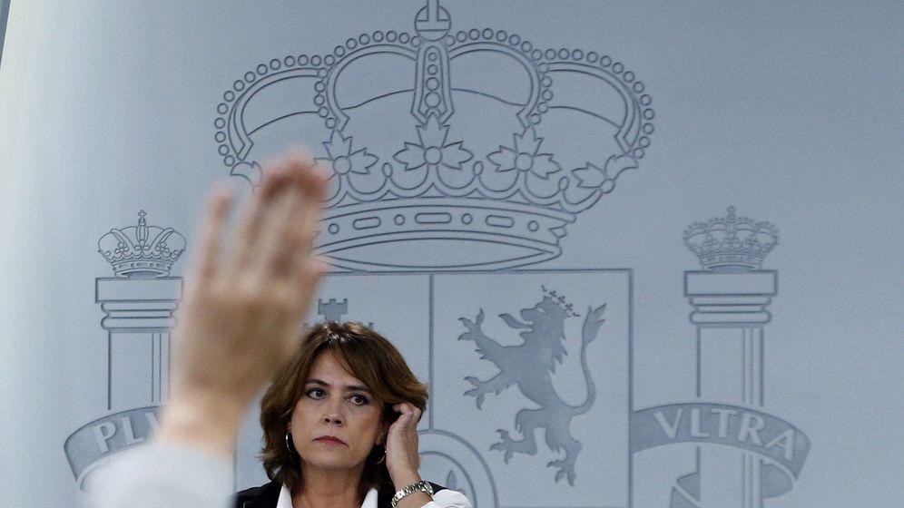 Foto: La ministra de Justicia, Dolores Delgado, durante la rueda de prensa celebrada el pasado viernes tras la reunión del Consejo de Ministros. (EFE)