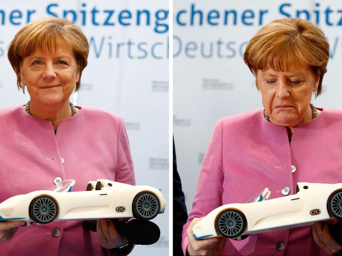 Foto: Merkel posa con dos maquetas 3d de un vehículo en una foto de archivo. (Reuters)