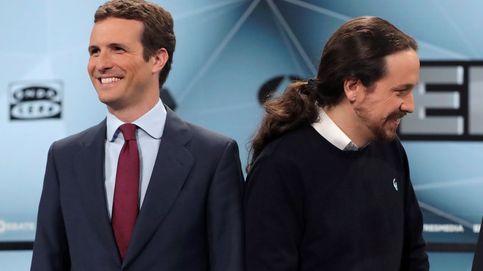 Iglesias y Casado toman oxígeno para el final de campaña en un bronco debate