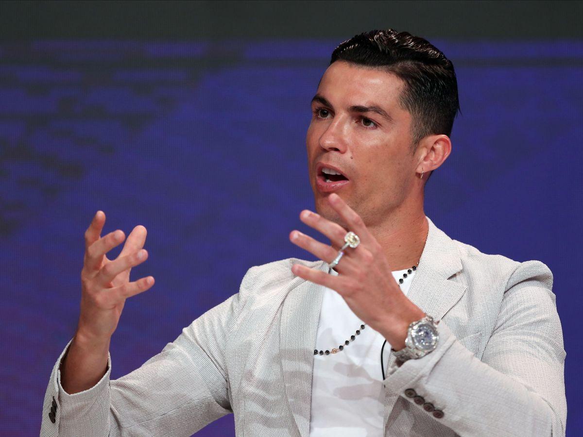 Foto: Cristiano Ronaldo durante la conferencia en Dubai. (EFE)