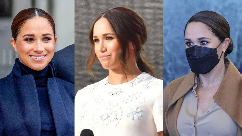 Las tres apariciones del nuevo cambio de look de Meghan Markle. (Getty / Cordon Press)