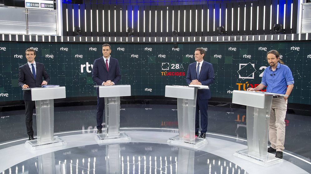 Foto: Pablo Casado, Pedro Sánchez, Albert Rivera y Pablo Iglesias. (RTVE)