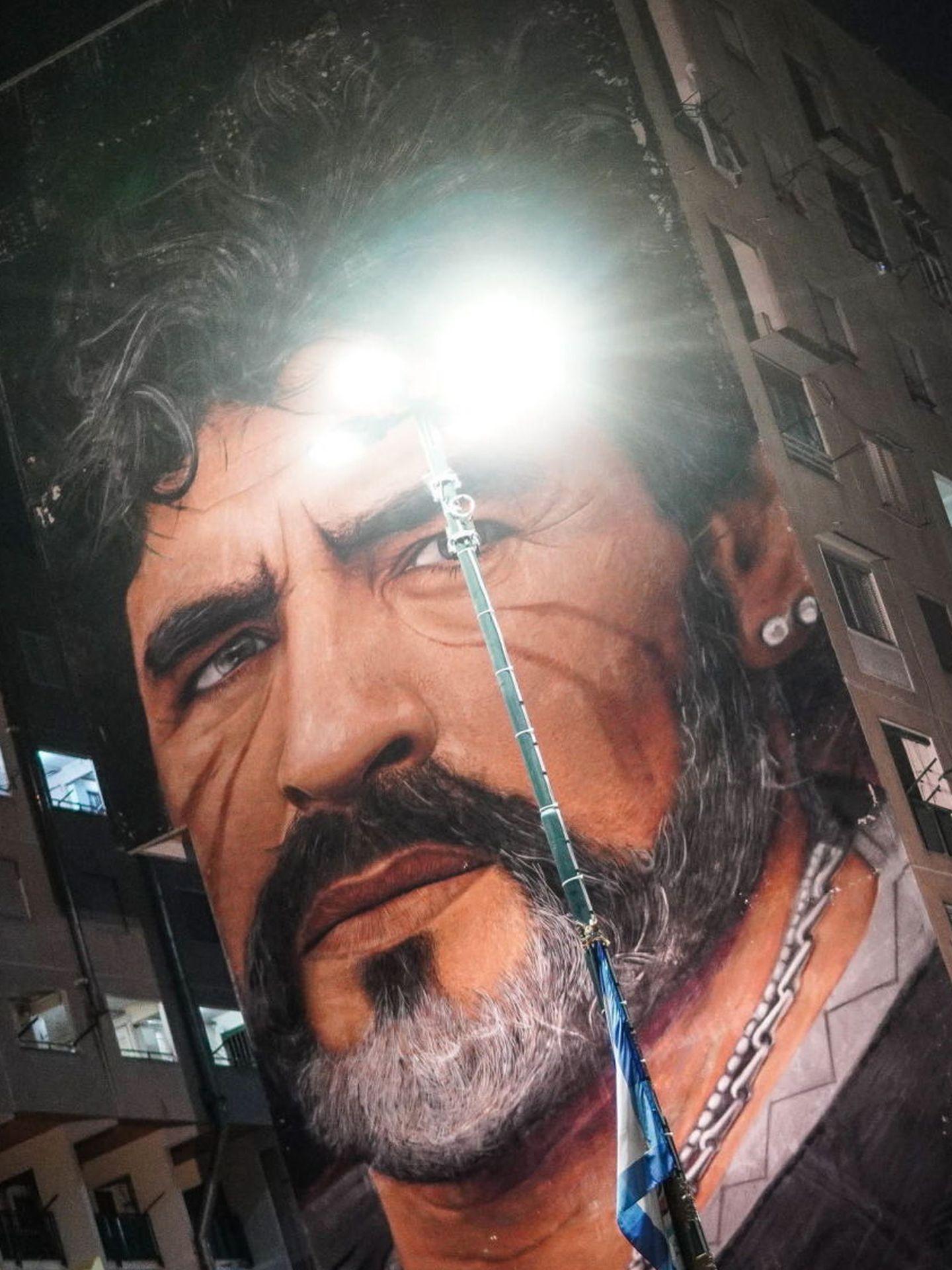 Mural de Diego Armando Maradona en Nápoles. (EFE)