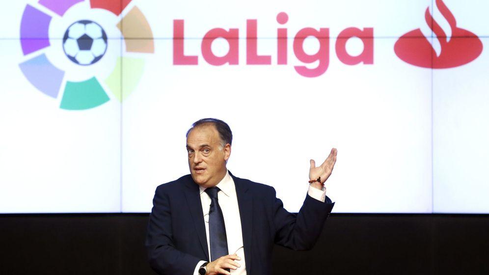 Foto: Javier Tebas, durante la presentación en julio del acuerdo de patrocinio del Banco Santander y LaLiga (EFE)
