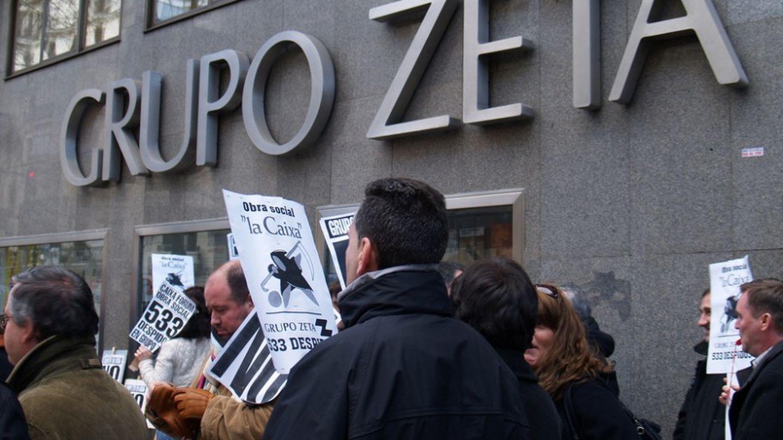 Prostestas de los trabajadores de Grupo Zeta. (Foto: Sindicatos de Periodistas de Madrid)