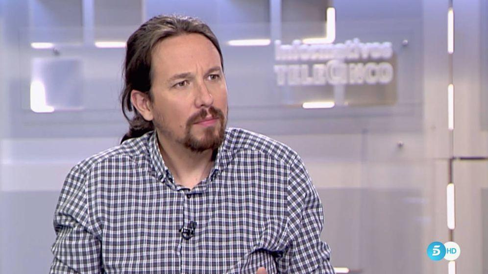 Foto: Pablo Iglesias, durante la entrevista en Telecinco.