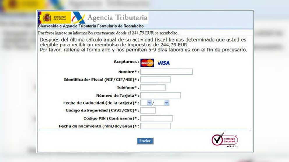 Un email fraudulento se hace pasar por Hacienda para conseguir datos