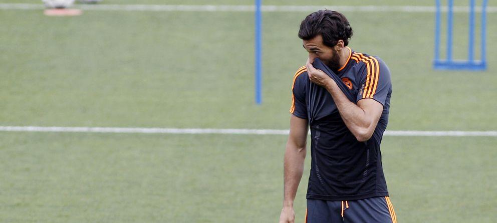 Foto: Álvaro Arbeloa durante un entrenamiento de la Selección (GTres)