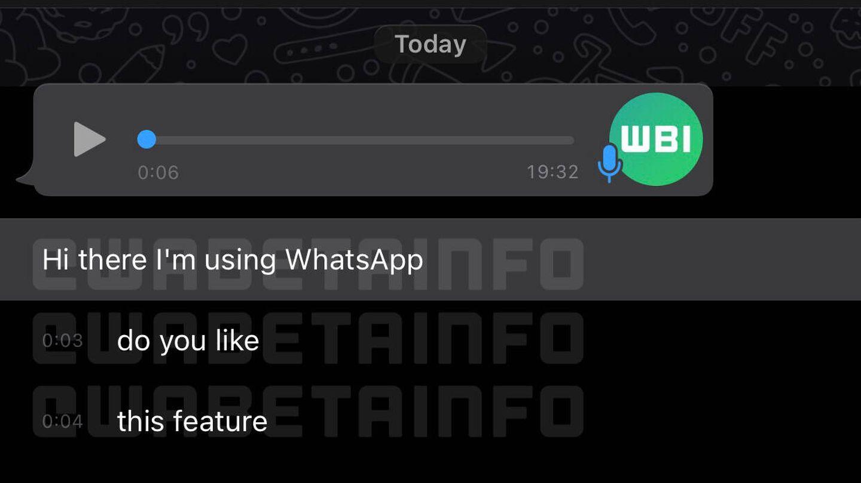 Así sería la nueva función de transcripción de mensajes. (WABetaInfo)