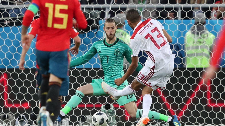 De Gea, en el primer gol de Marruecos. (EFE)
