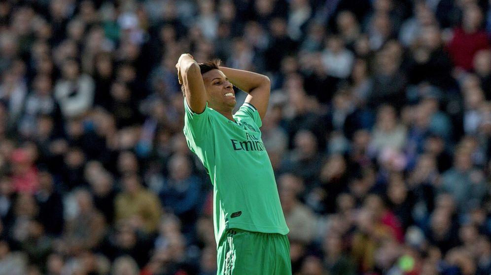 Foto: Rodrygo, durante el Real Madrid-Espanyol de este sábado en el Santiago Bernabéu. (EFE)