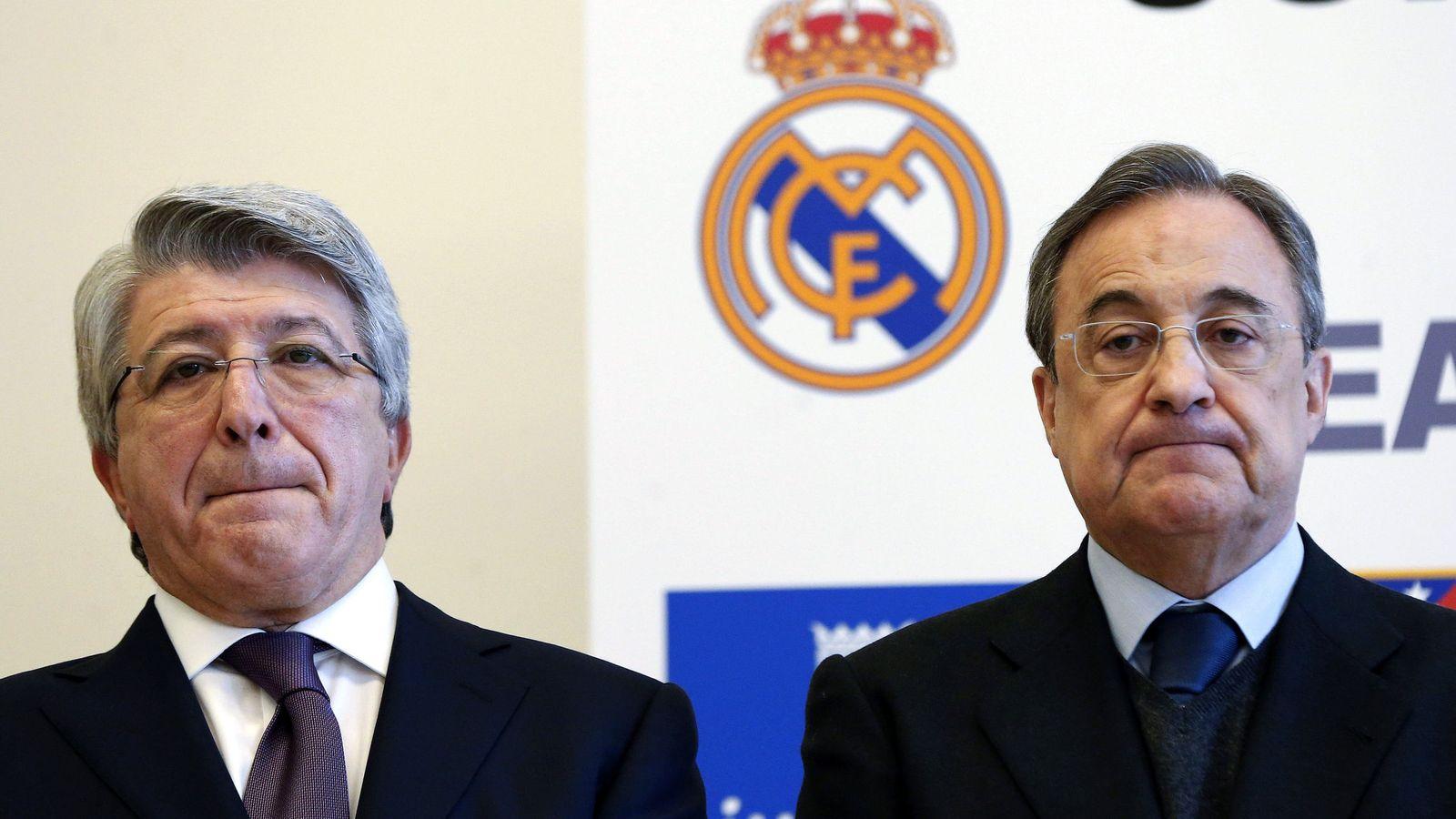 Foto: Enrique Cerezo, presidente del Atlético, junto a su homólogo del Real Madrid, Florentino Pérez. (EFE)