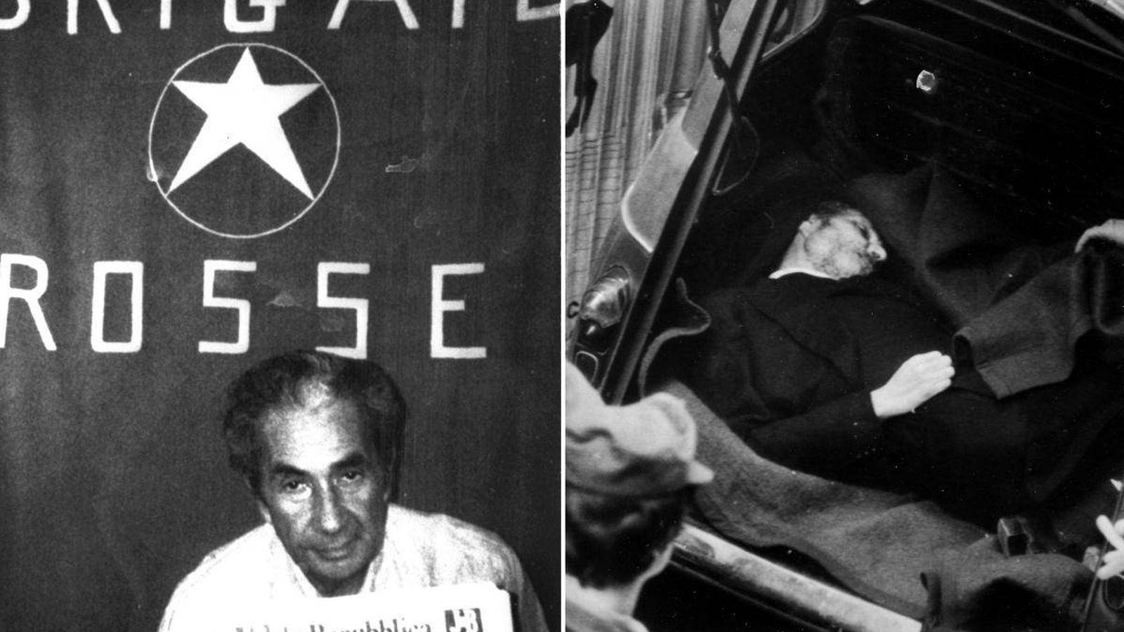 Foto: A la izquierda, Aldo Moro durante su secuestro por las brigadas Rojas. A la derecha, su cadáver encontrado en el maletero de un coche.