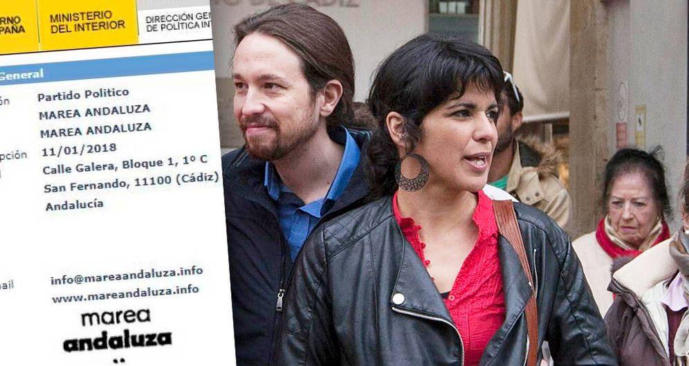 Foto: Pablo Iglesias y Teresa Rodríguez (y el documento del registro de 'Marea andaluza').