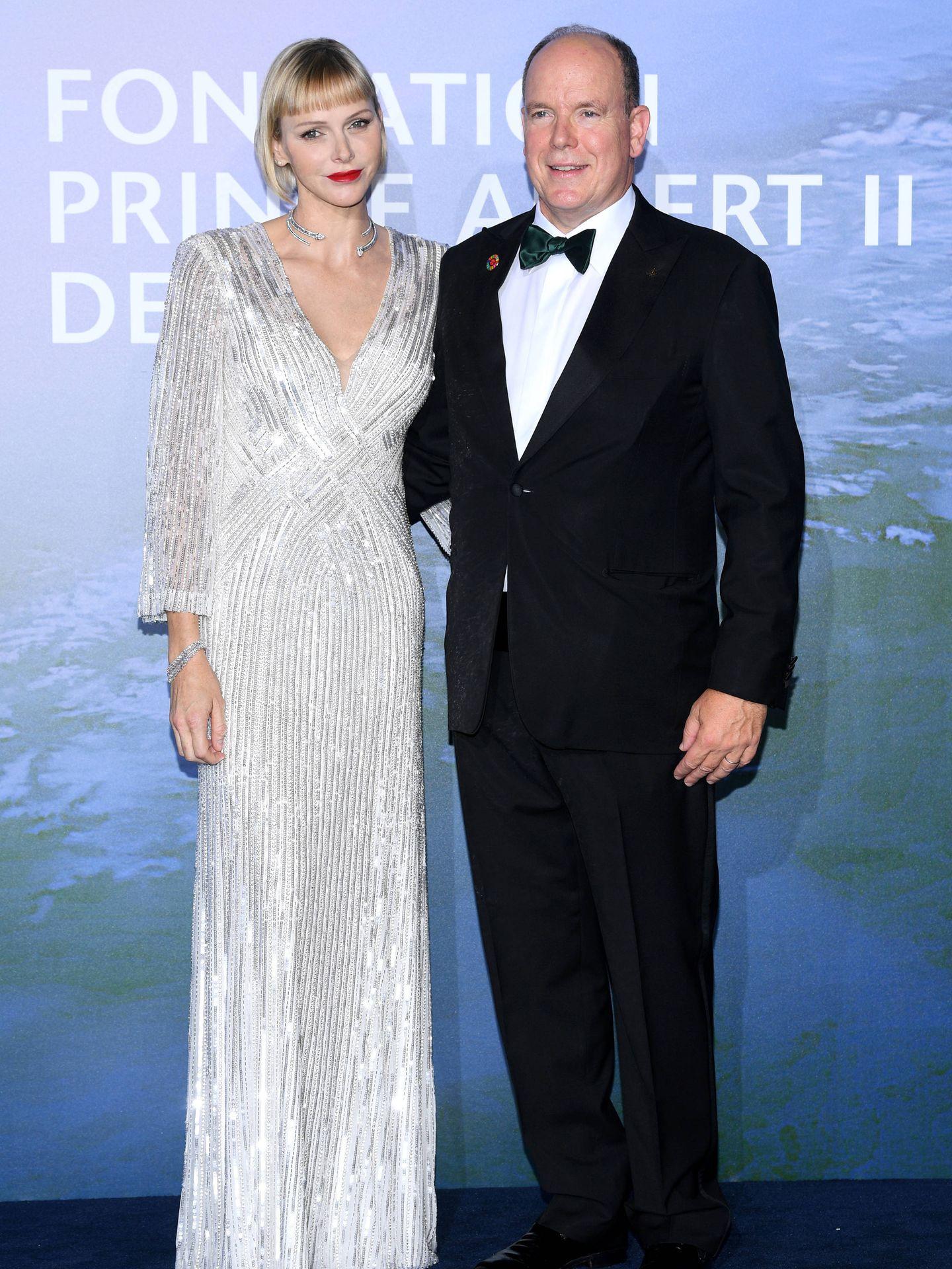 Charlène y Alberto de Mónaco, en la Gala por la Salud Planetaria. (Getty)