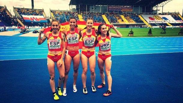 Foto: El equipo español del 4x100, campeón de Europa sub-23. (Foto: Twitter @AtletismoRFEA