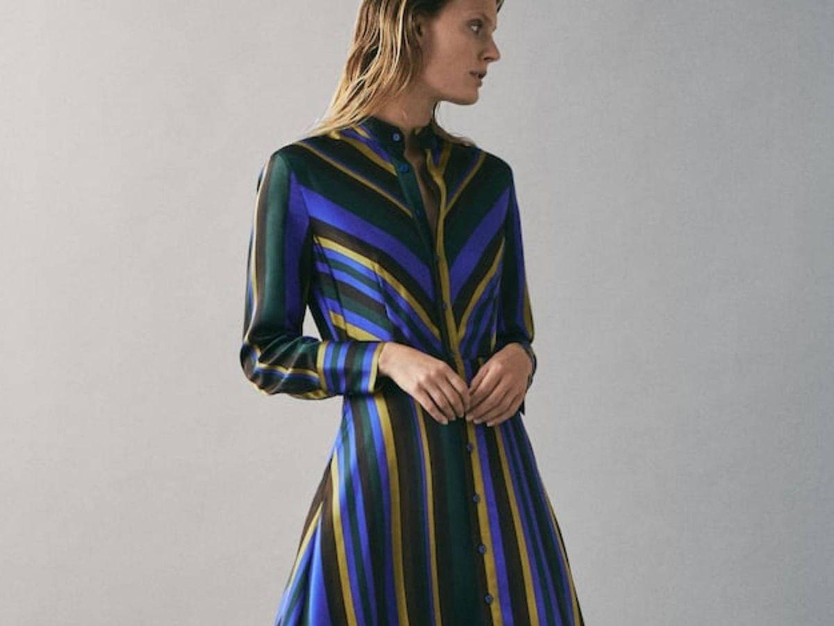 Foto: Vestido de rayas de Massimo Dutti. (Cortesía)
