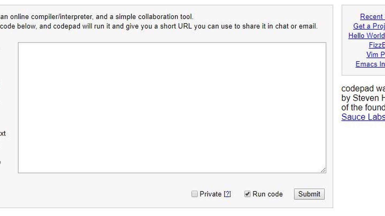Caja de texto de Codepad