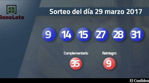 Resultados de la Bonoloto del 29 marzo 2017: números 9, 14, 15, 27, 28, 31