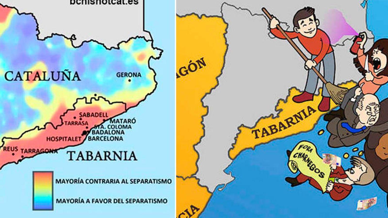 Foto: Mapa y cartel para reivindicar la autonomía de Tabarnia realizado por la agrupación de Sabadell de la Plataforma por l'Autonomía de Barcelona. (bcnisnotcat)