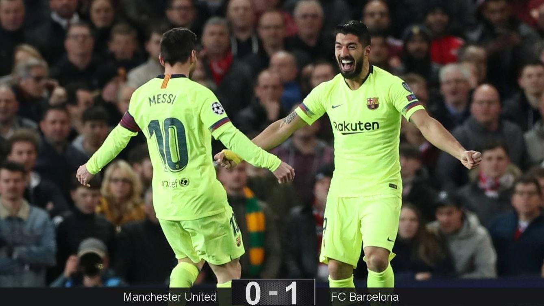 Foto: Luis Suárez y Messi celebran el gol del Barcelona al Manchester United. (Reuters)