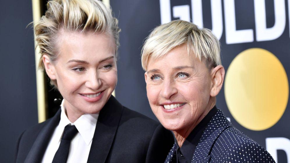 Foto: Portia de Rossi y Ellen DeGeneres, en los últimos Globos de Oro. (Getty)
