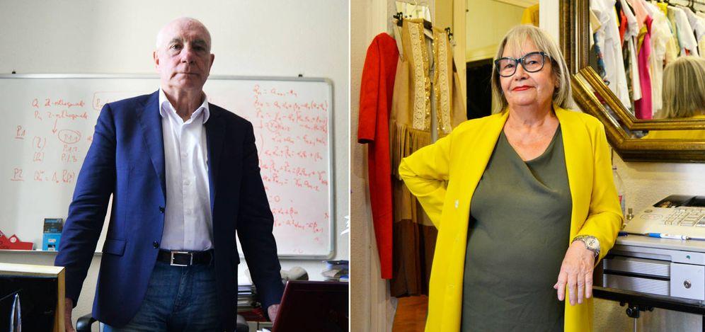 Foto: Francisco Marcellán, en su despacho de la Universidad Carlos III, y Helena Cobo, en su tienda de Madrid. (M. Z.)