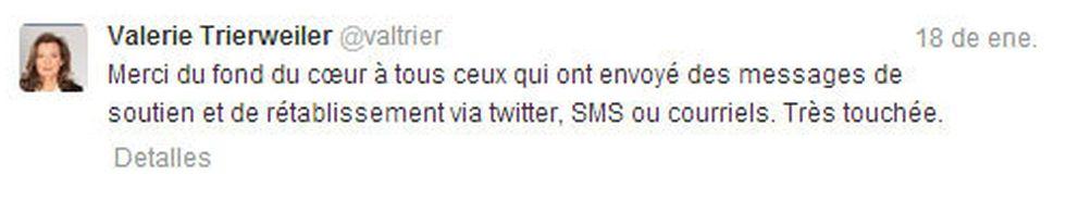 El tweet que publicó Valérie Treirweiler para dar las gracias
