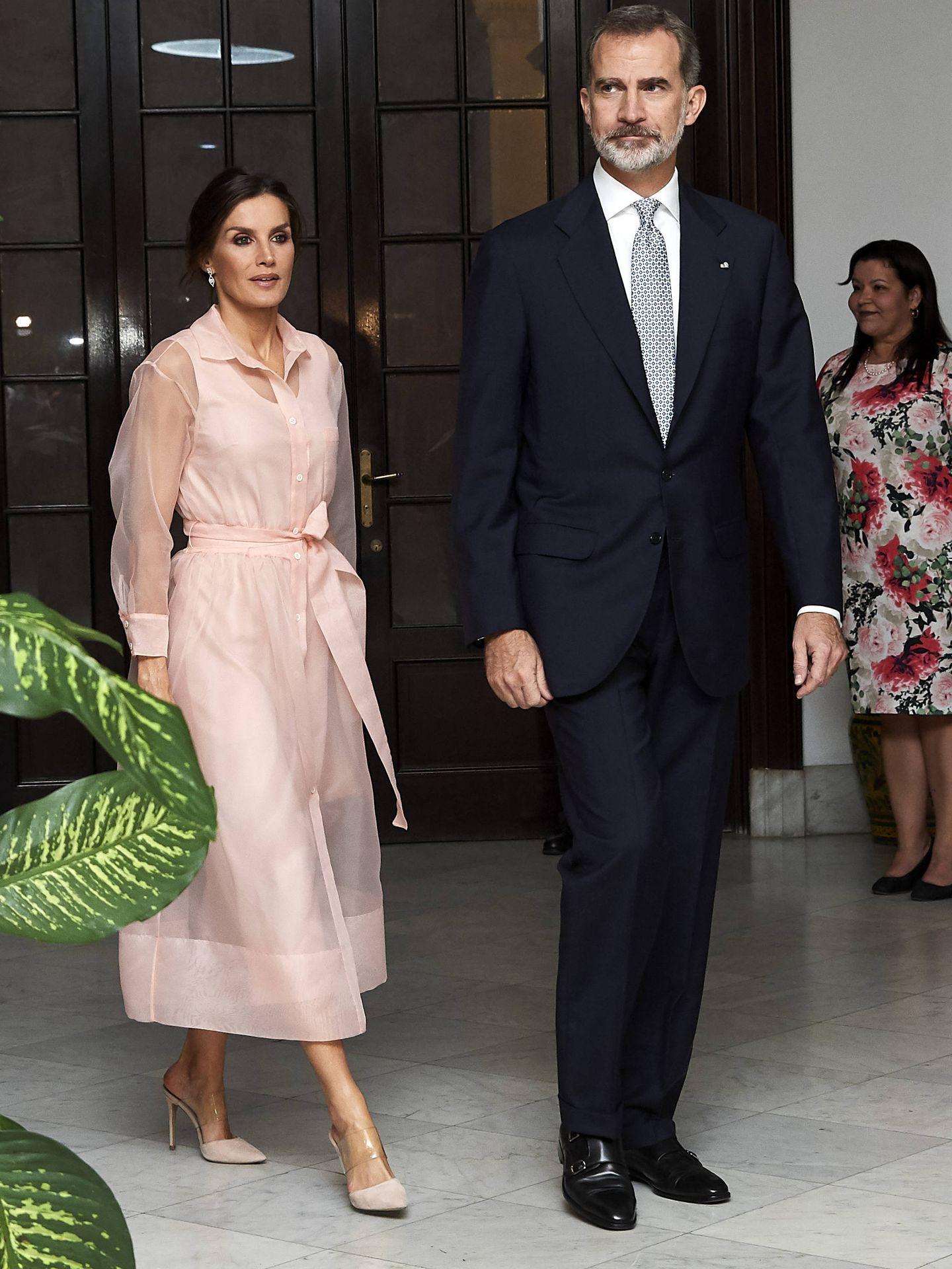 La Reina, con el vestido de Maje. (Getty)