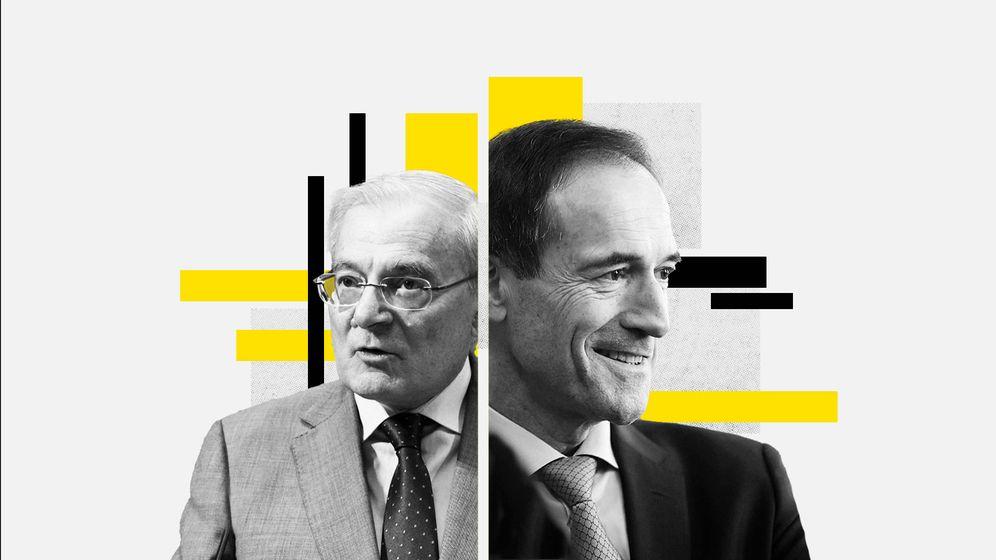 Foto: Manuel Azuaga (i), presidente de Unicaja, y Manuel Menéndez, CEO de Liberbank. (Imagen: Pablo L. Learte)