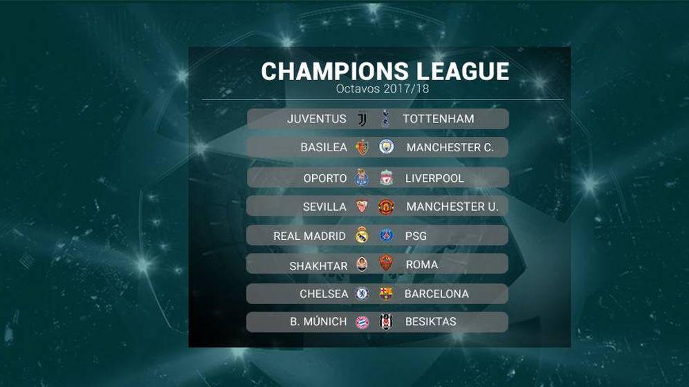 Sorteo: Real Madrid-PSG, Chelsea-Barcelona y Sevilla-United, en ...