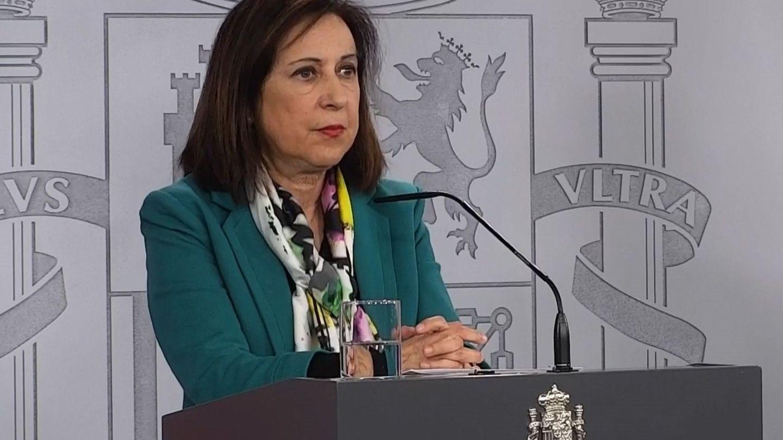 La ministra de Defensa, Margarita Robles, durante una rueda de prensa en Moncloa. (EFE)