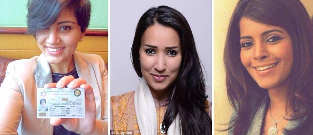 Foto: Las activistas Loujain al-Hathloul, Manal al-Shafir y Mayssa Al Amoudi.