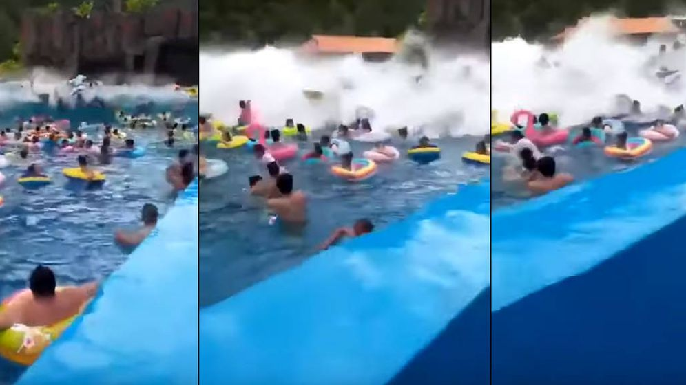 Foto: Secuencia del vídeo del 'tsunami' en la piscina de olas de China. (Foto: Youtube)