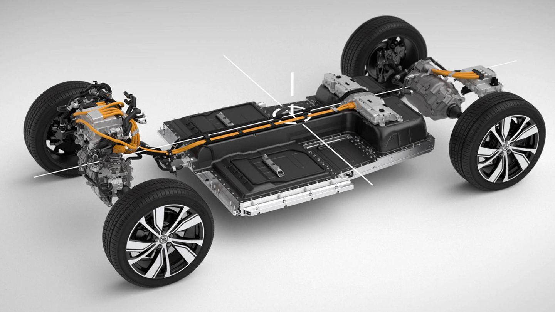 Las baterías de 75 kWh van situadas en el suelo del coche.