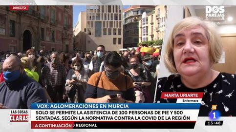 Una enfermera estalla en TVE por el acto de Vox en Murcia: Deleznable