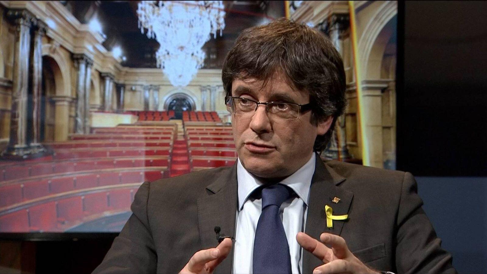 Foto: Puigdemont, durante la entrevista en TV3.