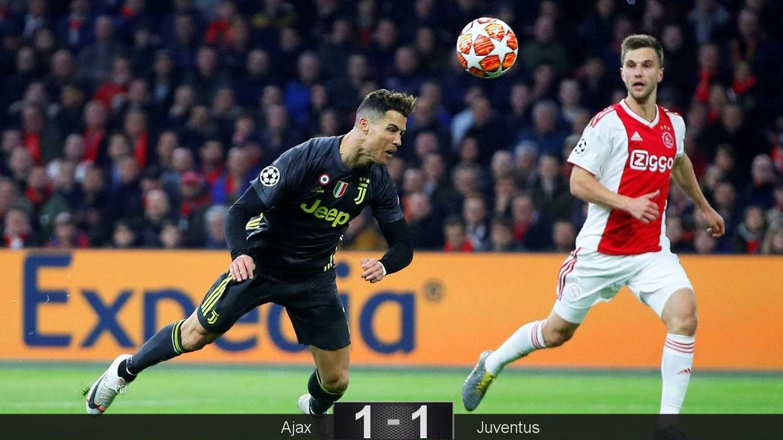 Foto: El remate de Cristiano Ronaldo para marcar el gol de la Juventus al Ajax. (Reuters)