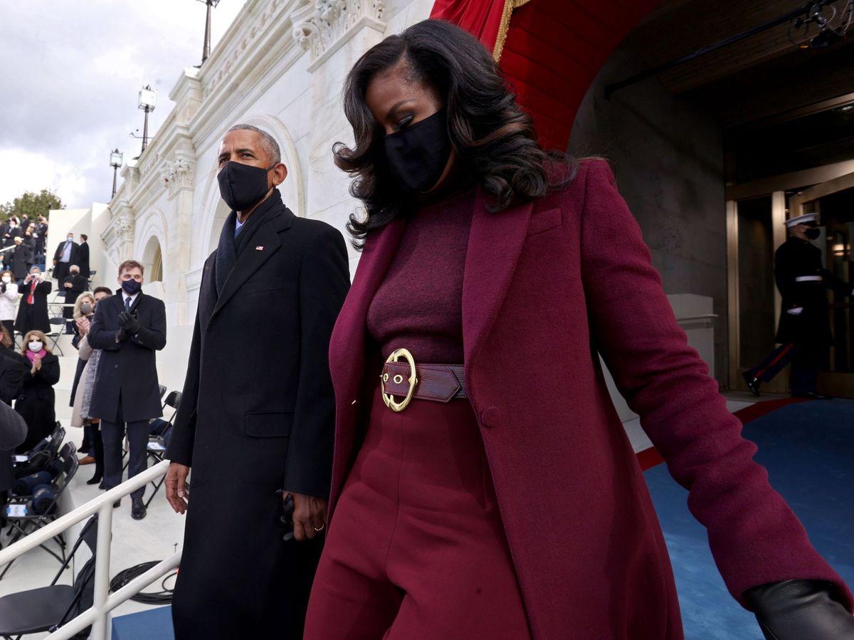 Foto: Michelle, maravillosa con su total look burgundy. (EFE)