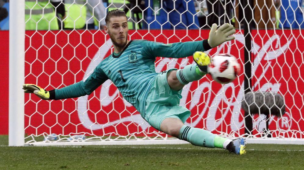 Foto: De Gea, durante la tanda de lanzamientos de penaltis contra Rusia. (EFE)
